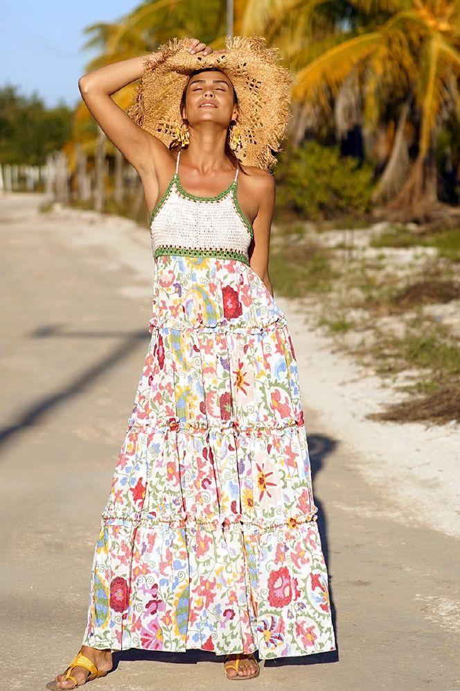 Miss June Peninsula Lang Kjole M perler