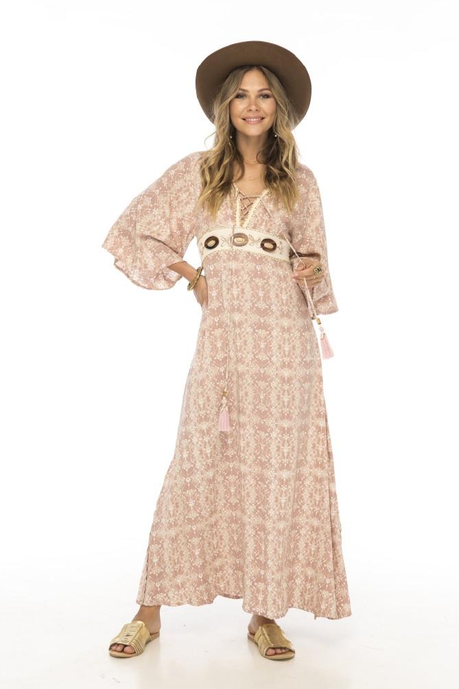 Skemo Africa Lang kjole M perler