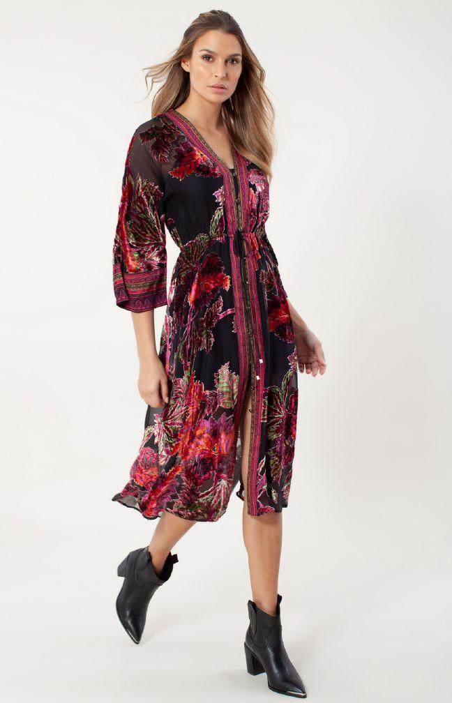 Hale Bob Ondine Silk Dress Beaded