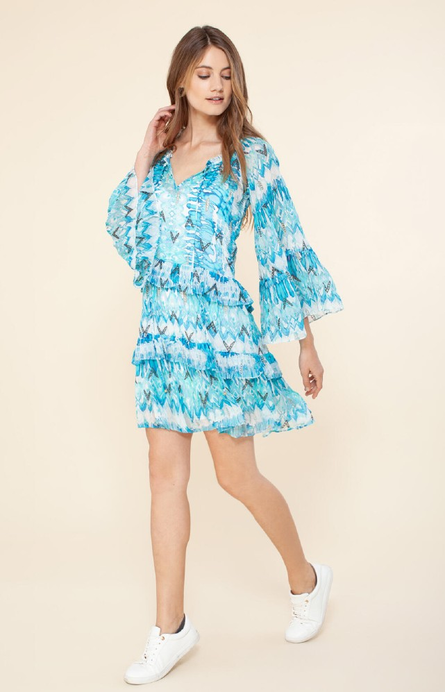 Hale Bob Selina Tiered Ruffle Dress