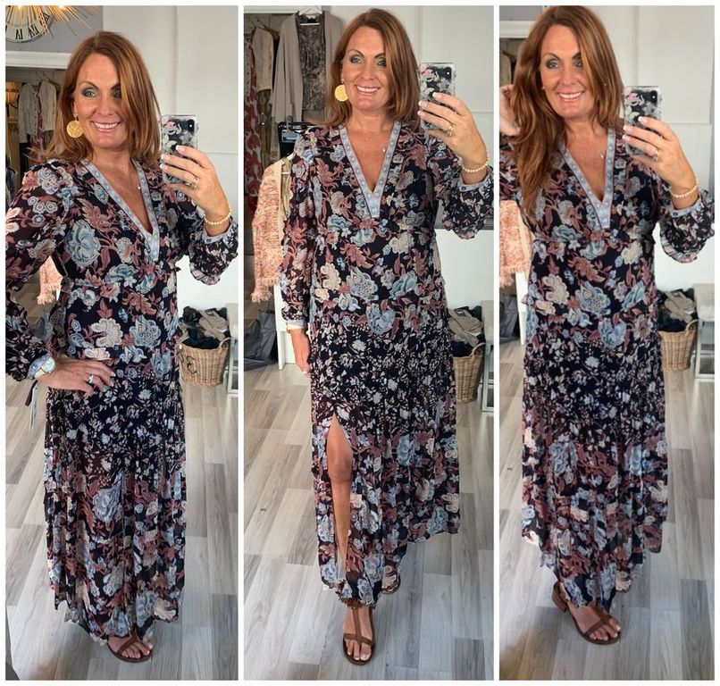 Hale Bob Tiffany lang kjole m blomster