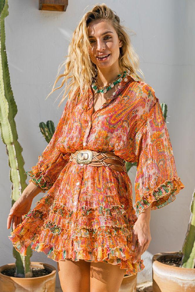Miss June Romi Peach Kjole