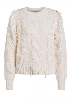 Oui strikket genser med frynser