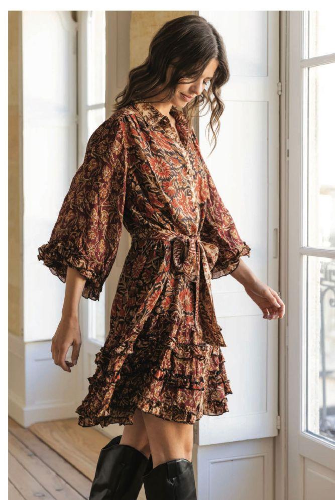 Miss June Lyra Burgundy dress
