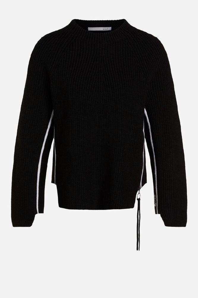 Oui Strikket bomulls genser
