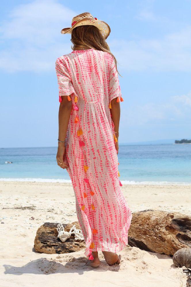 Miss June Lang Tunika m Broderi og Batik