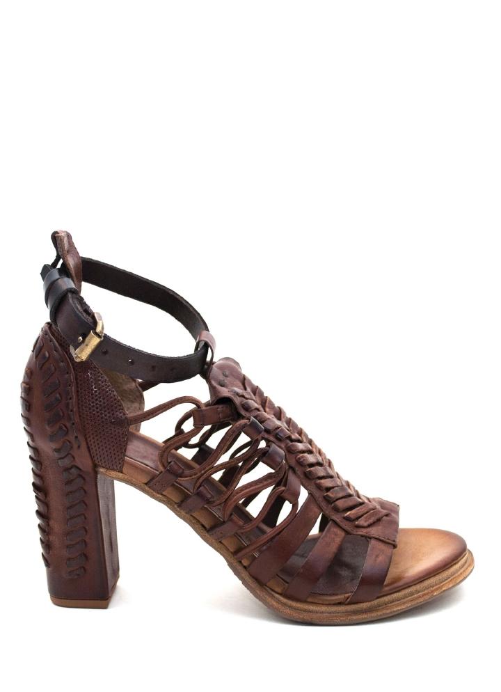 AS 98 Flettet Skinn sandal m høy hel