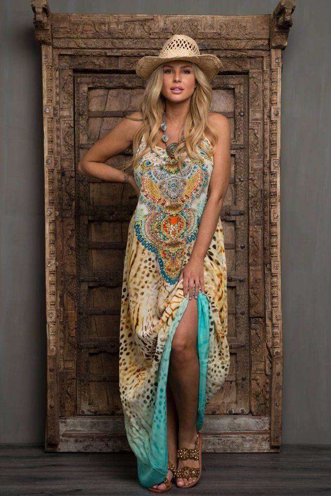 Jsquad Sun Silk lang kjole m Perler