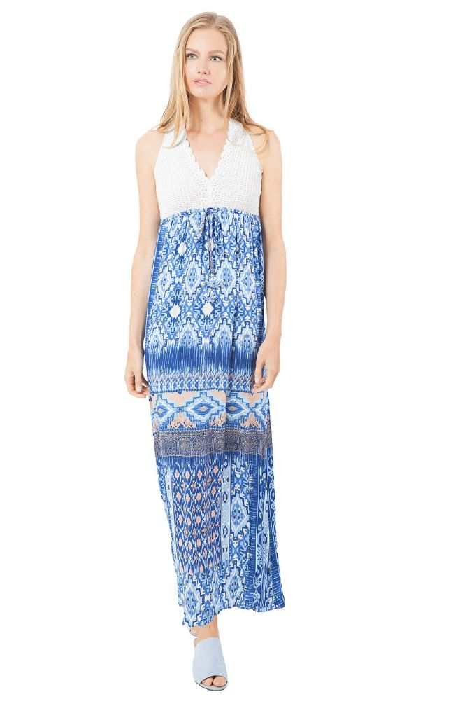 Hale Bob Alaska Crochet Maxi Dress
