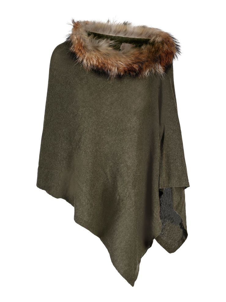 Brodie Cashmere Mini Fur Poncho