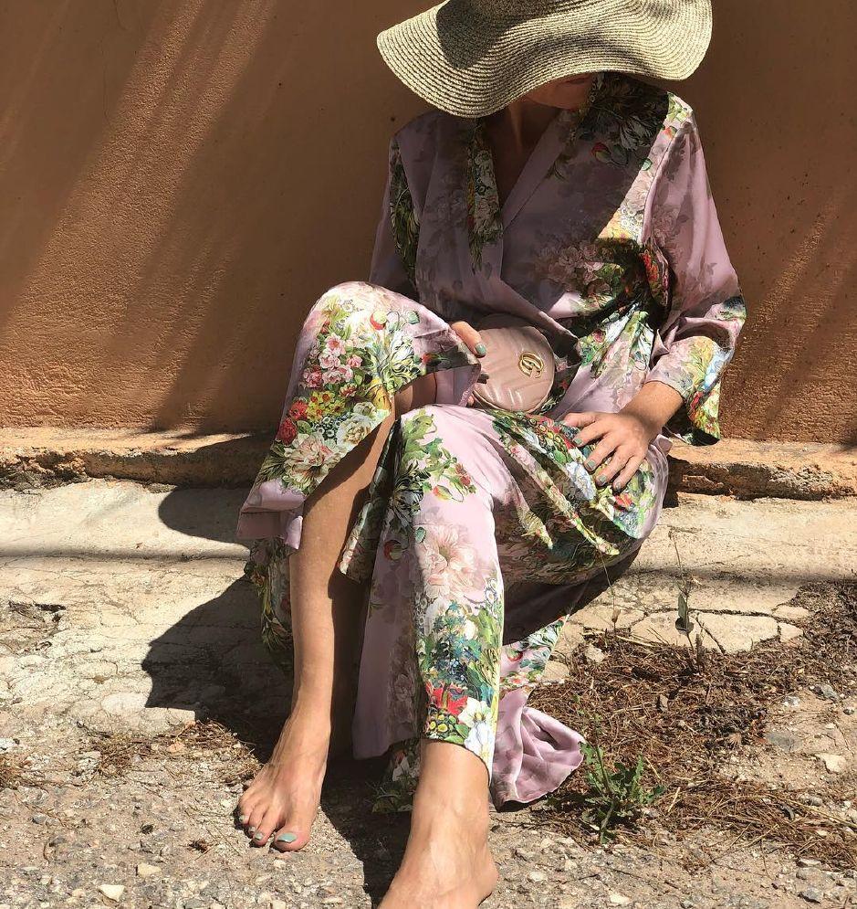 Karmamia Flora Lang Kaftan m Blomster